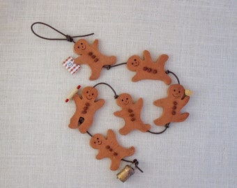 Ceramic Gingerbread Men Wall Hanging (6) - Kitchen-Themed String of Six - Mini Kitchen Tools - Burlap Texture - Whimsical - Gift for Cook