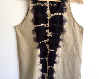 Black and Dark Beige Canyon Tank Top
