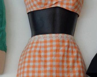Vintage 1960s 2 piece Orange Gingham Swimsuit Sz Small