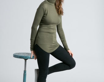 NEW Turtleneck Blouse / Long Sleeve Blouse / Fitted Shirt / Jersey Turtleneck / High Low Sweater / marcellamoda - MB737