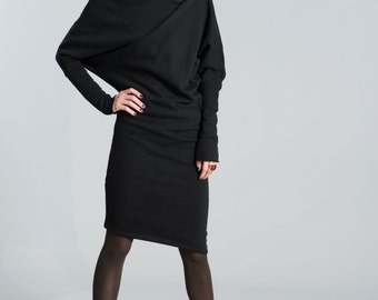 Sweatshirt Dress / Black Dress / Casual Dress / Extravagant Tunic / Midi Dress / marcellamoda - MD371
