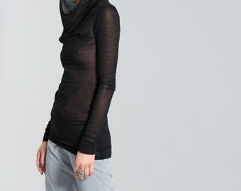 Hoody Shirt / Long Sleeve Shirt / Sheer Blouse / Black Top / Sweatshirt / Tshirt / T-Shirt / Stylish Shirt / marcellamoda - MB159