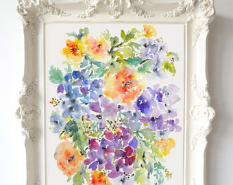 Mixed Flora, Watercolor Flowers Fine Art Print, Orange & Purple Blooms, Watercolor Floral Decor