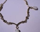 Vintage Fire Opal Necklace Signed 12K Gold Filled