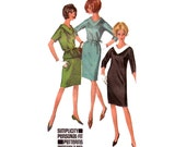 60s V Neck Shift Dress Top and Skirt Pattern Simplicity 6170 Vintage Sewing Pattern Size 14 Bust 34 Inches UNCUT Factory Folded