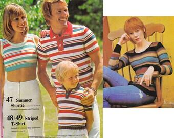 Vintage Boho 70s Knitting Crochet pattern magazine 49 Patterns Skinny Rib Knits Crochet Tunics Halter Tops Babywear Knitted Toys Ethnic Vest