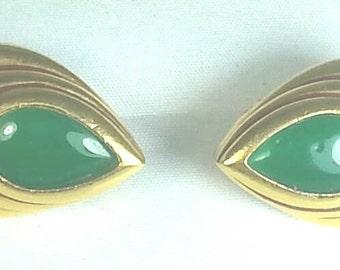 Green Glass &  Black Rhinestone Clip Earrings Signed Diva