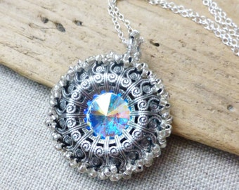 AB Swarovski Crystal Beaded Necklace, Aurora Borealis Crystal Rivoli Pendant, Handmade Beaded Filigree Circle Pendant, Gift for Her