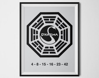 Lost Poster Wall Art Dharma Initiative Swan Station Logo Lost Numbers 4 8 15 16 23 42 Digital Print Lost Tv Show Dharma Poster Geek Decor