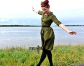 Vintage inspired shirt waist dress in forest green 1940s style