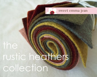 9x12 Wool Felt Sheets - The  Rustic Heathers Collection - 8 Sheets of Felt