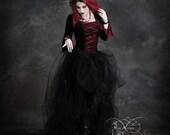 Camellia Corset-Laced Romantic Gothic Wedding Dress Handmade Dark Romantic Fairy Tale Dress - Renaissance Steampunk Vampire Inspired