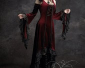 Elisa Romantic Gothic Dress in Deep Red - Petite XSmall - Ready To Ship and Discounted - Dark Romantic Couture by Rose Mortem