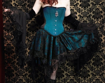 Celcia Gothic Fairy Skirt - Romantic Black Lace with Ruffled Lace Edging over Jade/Peacock Satin - Handmade and Ready Now