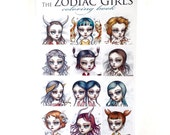 Zodiac Girls Coloring Book - Tattoo Line design book surrealism lowbrow art book by Mab Graves - Zodiac astrology sign book
