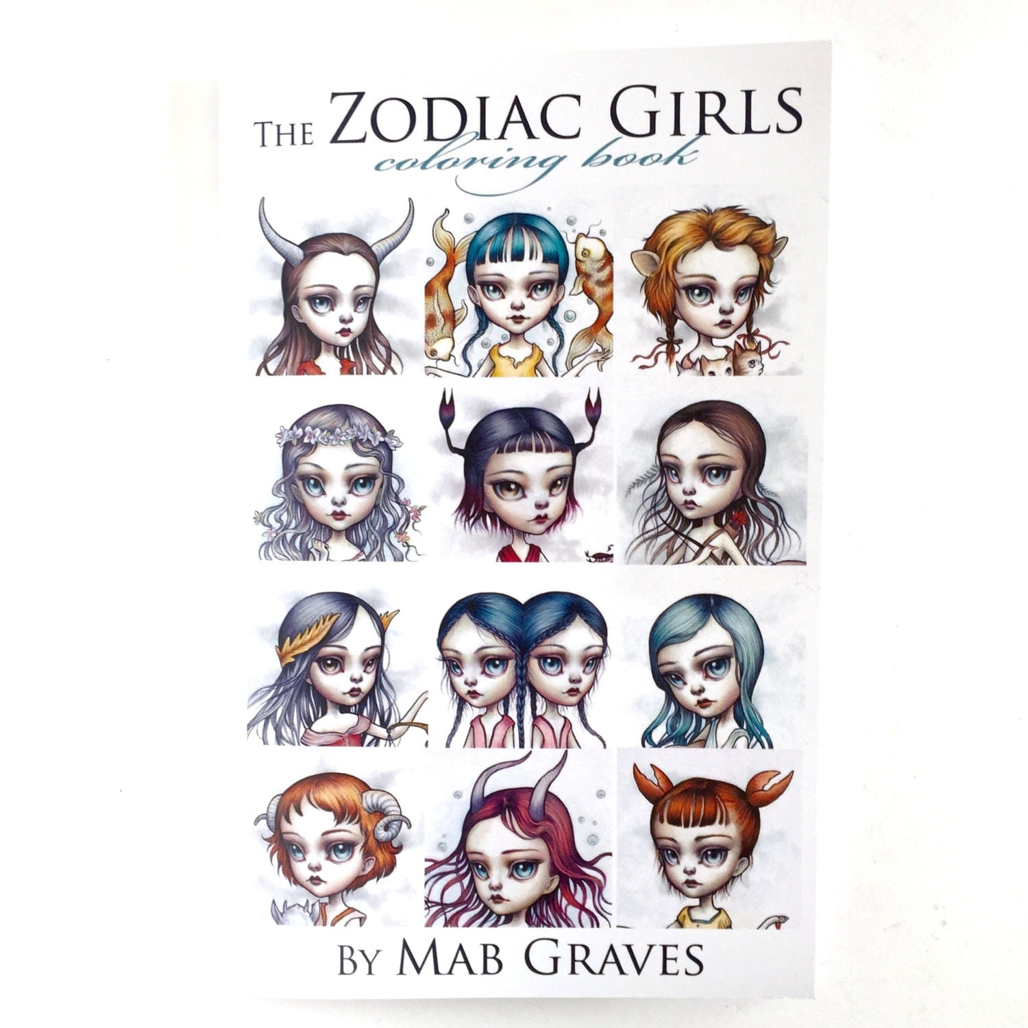 The x files coloring book - Zodiac Girls Coloring Book Tattoo Line Design Book Surrealism Lowbrow Art Book By Mab Graves Zodiac Astrology Sign Book