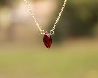 Genuine Garnet Necklace, Gemstone Necklace, Floating Garnet, January Birthstone, Dainty Necklace, Delicate, Minimalist Necklace, Gold Silver