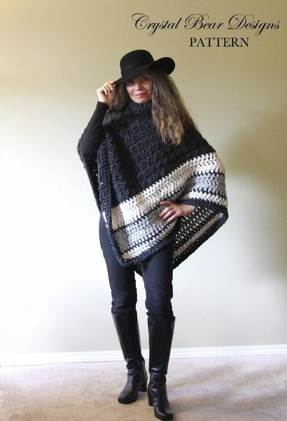 Chunky Crochet Poncho Free Pattern : Chunky Crochet Poncho PATTERN / Easy Crochet Pattern / Made in
