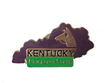 KENTUCKY Bluegrass STATE lapel cloisonne vintage enamel pin landscape