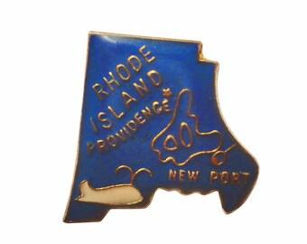 RHODE ISLAND State vintage lapel cloisonne enamel pin Newport