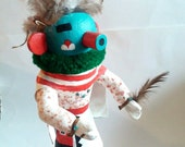 """Vintage Native American Kachina Doll. Handmade and Handpainted Paper Mache, Feathers, and Wood 13"""" Tall."""
