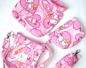 Snoopy & Woodstock Peanuts Quilted Wristlet,Cosmetic Bag,Coin Purse,ID Lanyard Coin Purse Set,Your Choice Charles Shultz Peanuts,Pink Hearts