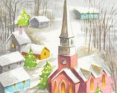 Never Used, 1950's Christmas Greetings Greeting Card w/ Envelope, Pink Church, Winter Scene  Mid Century, Vintage Christmas Card