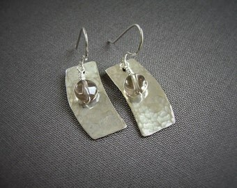 Smoky Quartz Earrings, Silver Filled, Curved Rectangle, Hammered Silver, Wire Wrapped Quartz, 993