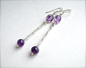 Amethyst Sterling Silver Stick Earrings, Purple Amethyst, Wire Wrapped, Faceted Gemstones, Bezel Set, Handmade, 946
