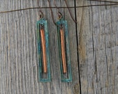 EMERALD BAY. Emerald patina brass rectangle and copper earrings.