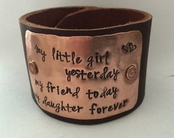 Leather Cuff Bracelet, Daughter bracelet...My little girl yesterday, hand stamped, copper stamped plate with  worn chocolate brown leather..