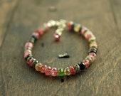 Watermelon Tourmaline Bracelet, Tourmaline and Sterling Silver Bracelet