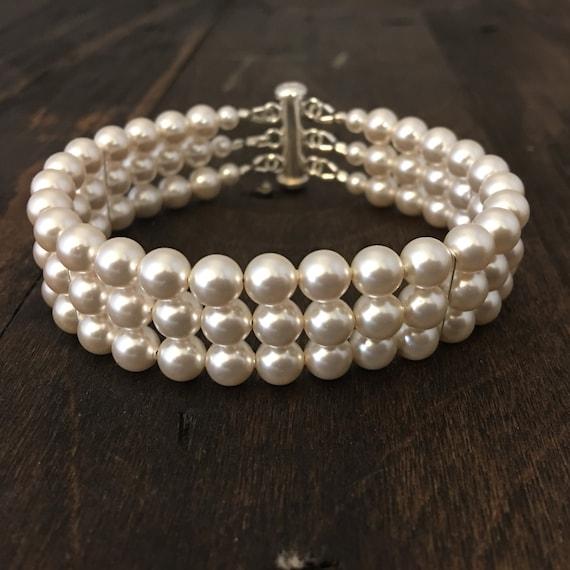 Bridal Bracelet, 3 Strand Swarovski Pearl Bracelet with Sterling Silver Findings, Wedding Jewelry, Wedding Bracelet, For The Bride, Cuff