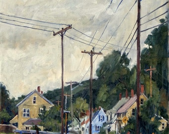 Houses and Poles, Cloudy Day. Oil Painting Landscape, 18x14 Plein Air Impressionist Oil on Canvas, Signed Original Realist Fine Art