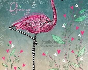 Flamingo / original illustration ART Print Hand SIGNED size 8 x 10