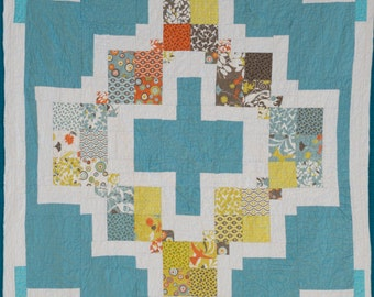 "In The Garden Quilt, 60"" X 81"" Lap Quill / Large Lap Quilt  / Quilted Throw"