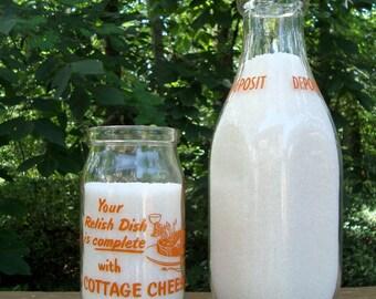 Turner Wescott Pint Glass Bottle Cottage Cheese Vintage