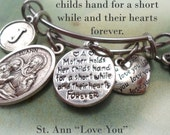 St. Ann Mother Daughter Bangle, Patron Saint of Mothers and Grandmothers, Swarovski Birthstone Crystal, Monogram Letter, Catholic Jewelry