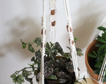 Macrame Plant Hanger with Copper Beads Accents