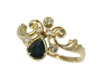 Fine antique sapphire and diamond Ring - French Victorian yellow gold dark blue sapphire old brilliant cut diamonds seed pearls ring c.1900