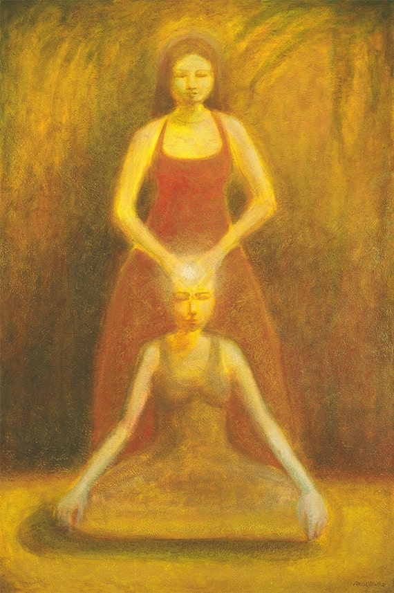 Giving and Receiving - spiritual exchange 5 feet tall with golden glazed layers of oil paint