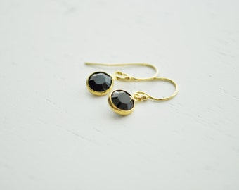 Jet Black Tiny Crystal Earrings - round swarovski crystal gem & gold filled - simple wedding jewelry or for everyday - adenandclaire