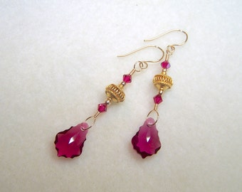Ruby Red Earrings Crystal Earings July Birthstone Baroque Jewelry Red Crystal Gold Dangle Earrings for Women Handmade Gifts for Her