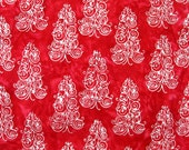 Christmas Placemats - Holiday Placemats - Batik Reversible Placemats - Christmas Tree Placemats - Heat Resistant - Red Placemats - Set of 4