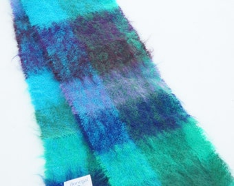 Vintage 70s-80s Woven Plaid Mohair Scarf Donegal Design Ireland