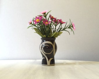 Small brown swirl pattern vase, brown clay vase, tiny vase, small posy vase, brown china vase, flower vase, brown bud vase, autumn colours