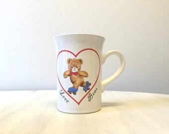 Cute 80s teddy ceramic mug, 80s white coffee mug, china coffee mug, teddy bear pattern china tea cup, kitsch pottery mug, china coffee cup