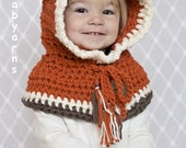 Bear Hat Crochet Knit / Bear HOODIE / Fox Hat Scarf Cowl / Baby Bear Fox Hat / Fall Winter Bear Hat Children Kids / Gift Hat Bear Fox Wolf