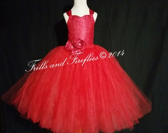 Red Flower Girl Dress-Lace Halter Corset Dress-Tutu Dress-Several Dress Colors Available- Size 1t, 2t, 3t, 4t, 5t, 6, 7, 8, 10 or 12