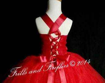 Red Flower Girl Dress-Lace Halter Corset Style Dress-Tutu Dress-Several Dress Colors Available- Size 1t, 2t, 3t, 4t, 5t, 6, 7, 8, 10 or 12